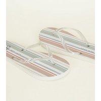 Girls White Stripe Flip Flops New Look