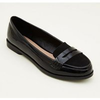 Teens Black Patent Suedette Trim Loafers New Look