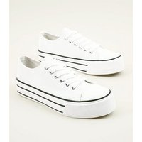 White Flatform Canvas Trainers New Look