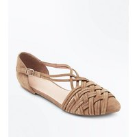 Tan Suede Woven Pointed Pumps New Look