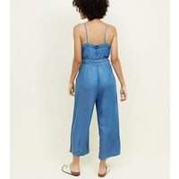 Blue Square Neck Lightweight Denim Jumpsuit New Look