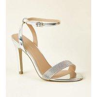 Silver Diamante Strap Stiletto Sandals New Look