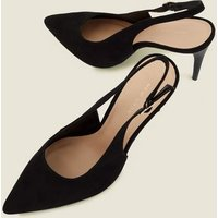 Black Suedette Slingback Courts New Look