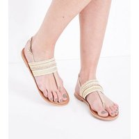 Nude Leather Woven Diamante Flat Sandals New Look