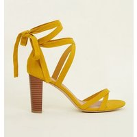 Wide Fit Yellow Suedette Ankle Tie Wood Block Heels New Look