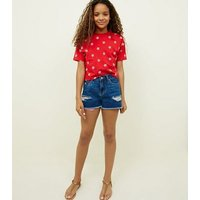 Girls Navy Red Pocket Ripped Denim Shorts New Look