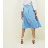 Pale Blue Button Front Denim Midi Skirt New Look