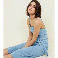 Bright Blue Lightweight Denim Jumpsuit New Look