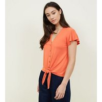 bright-orange-tie-button-front-top-new-look