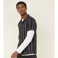 Black Vertical Double Stripe Revere Collar Shirt New Look
