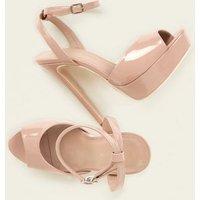 Nude Patent Peep Toe Platform Sandals New Look