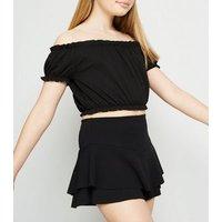 Girls Black Frill Skort New Look