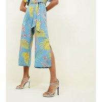 Blue Vanilla Blue Tropical Frill Sleeve Culotte Jumpsuit New Look