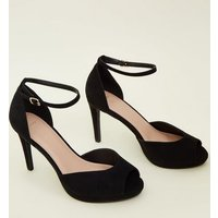 Wide Fit Black Suedette Peep Toe Ankle Strap Heels New Look