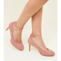 Wide Fit Pink Suedette Ankle Strap Courts New Look