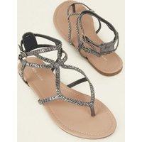 Pewter Gem Studded Multi Strap Sandals New Look