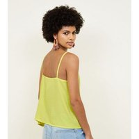 Cameo Rose Yellow Contrast Button Cami New Look