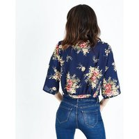 Cameo Rose Blue Floral Zip Tie Front Blouse New Look
