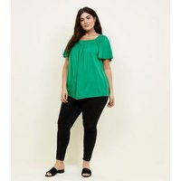 Curves Green Shirred Square Neck Top New Look