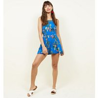Blue Tropical Print Layered Playsuit New Look