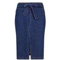 Curves Blue Tie Waist Denim Midi Skirt New Look