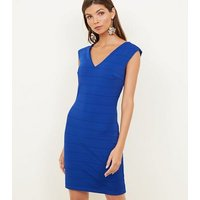 Mela Bright Blue V-Neck Bandage Bodycon Dress New Look