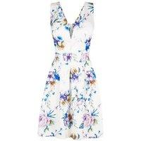 Mela White Floral V Neck Prom Dress New Look