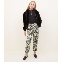 Girls Yellow Camo Utility Trousers New Look