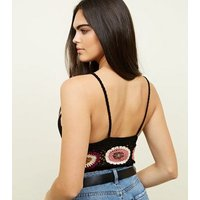 Black Floral Crochet Bralette New Look