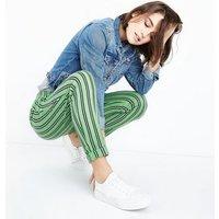 Innocence Green Stripe Slim Leg Trousers New Look