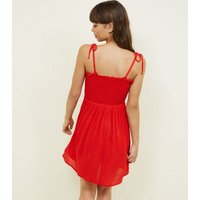 Red Shirred Button Front Sundress New Look