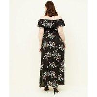Curves Black Floral Bardot Maxi Dress New Look