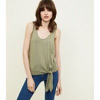 Olive Green Tie Side Vest New Look