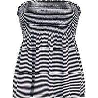White Stripe Shirred Swing Bandeau New Look