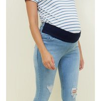 Maternity Bright Blue Under Bump Ripped Skinny Jeans New Look