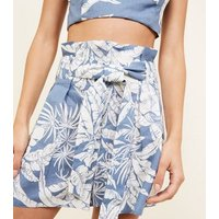 Blue Tropical Linen Blend Tie Back Cami New Look