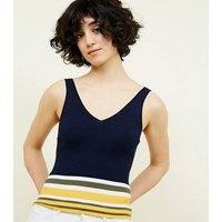 Navy Colour Block Stripe Knitted Vest New Look
