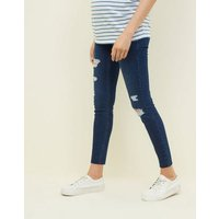 Maternity Navy Ripped Over Bump Skinny Jeans New Look
