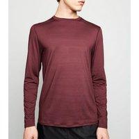 Burgundy Long Sleeve Sports T-Shirt New Look