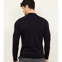 Navy Muscle Fit Long Sleeve Knitted Polo Shirt New Look