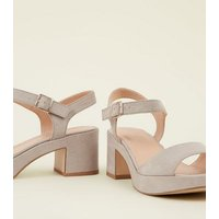 Wide Fit Grey Suedette Platform Peep Toe Heels New Look