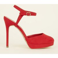 Wide Fit Red Suedette Platform Stiletto Heels New Look