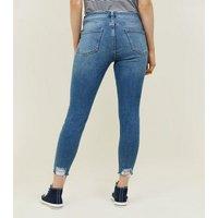 Petite Blue 26in Ripped Raw Hem Skinny Jeans New Look