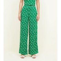 Green Ditsy Floral Wide Leg Trousers New Look