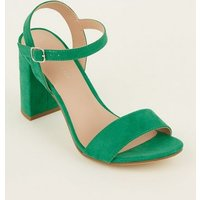 Green Suedette Two-Part Heeled Sandals New Look