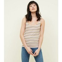 Pale Pink Stripe Ribbed Vest New Look