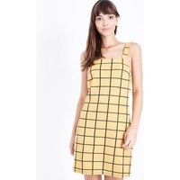 Mustard Grid Check Pinafore Dress New Look