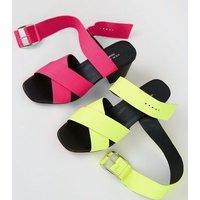 Yellow Premium Neon Leather Cross Strap Sandals New Look