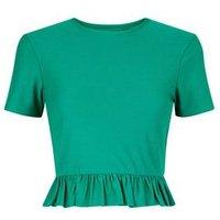 Cameo Rose Green Peplum Hem Crop Top New Look