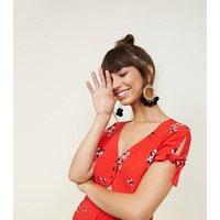 Black Spike Pom Pom Hoop Earrings New Look